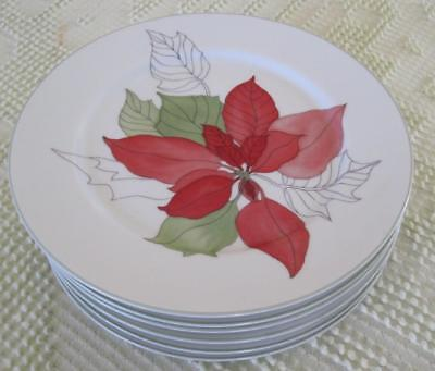 "Six 1982 Block Spal Watercolors Poinsettia 7 7/8"" Plates by Mary Lou Goertzen"
