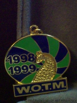 Loyal Order of Moose Charm WOTM 1998 Enamel Peacock Gold Tone Women Auxiliary