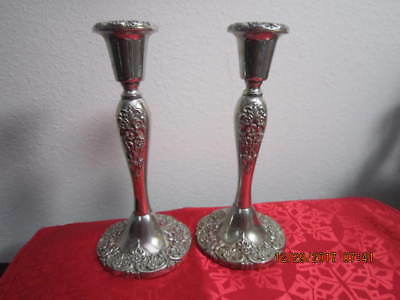 "Vint. Pair Godinger Silver Plate Candlesticks Heavy Ornate w Flowers 8.25"" Tall"