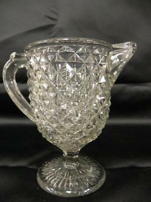 EAPG ANTIQUE FLINT GLASS SMALL CREAMER PITCHER with AMAZON DIAMOND PATTERN