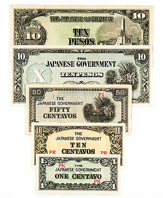 5 diff. WW2 Philippines 1940's Japanese invasion paper money circ.-Au