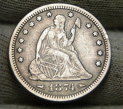 1874 Seated Liberty Quarter 25 Cents - Rare Key Date, Only 471,200 Minted (6143)