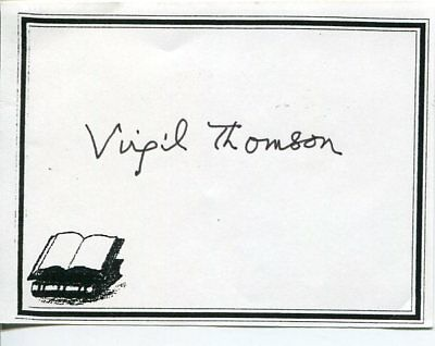 Virgil Thomson Classical Composer American Sound Signed Autograph Bookplate