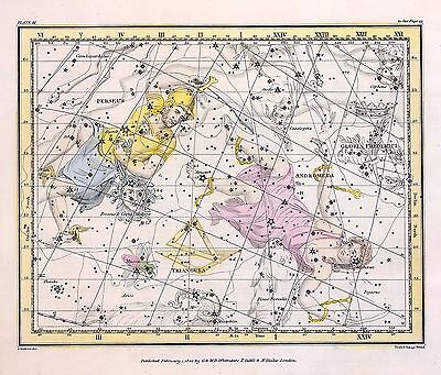 1822 ASTROLOGY ATLAS Print poster old chart MEDUSA old constellation ZODIAC 11