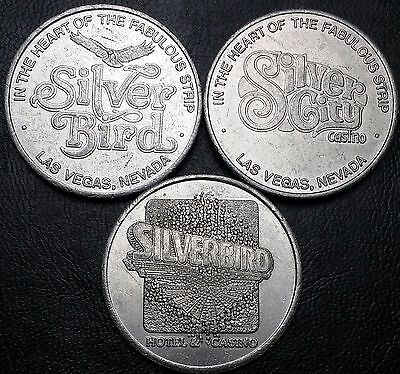 Lot of 3 Silverbird & Silver City Casino Free Play Gaming Tokens