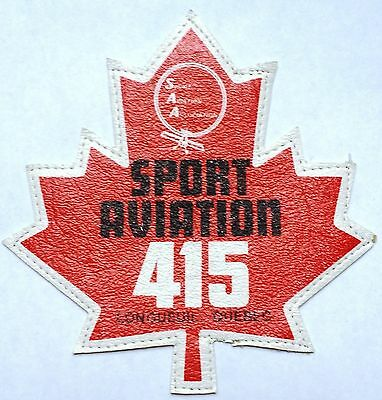Vintage Sport Aviation 415 Longeuil, Quebec Patch / Badge - Free Combined S/H