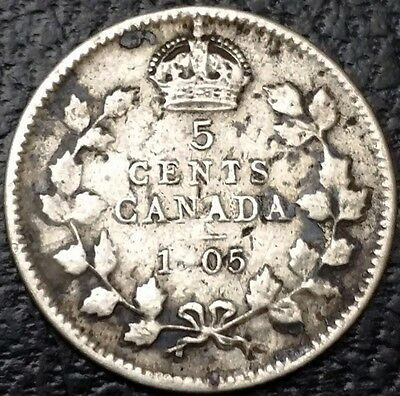 1905 Canada Silver 5 Cents Coin - 92.5% Silver Coin ***Weak 9 Strike***