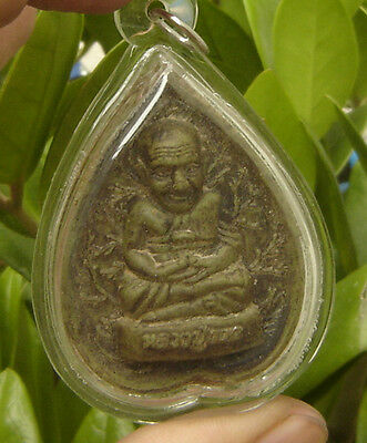 """Pendant tablet fired clay""""Lung por Tud""""Monk Amulet"""