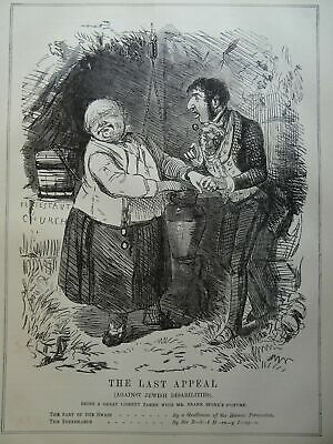 c1848 LAST APPEAL AGAINST JEWISH DISABILITIES Original Victorian Punch Cartoon