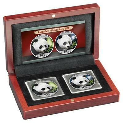 2 x 30 g Silver Panda Set Night & Day 2018 China Coloured in case