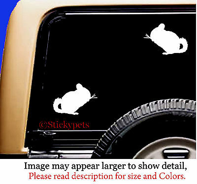 Chinchilla Rodent Sticky Pet Vinyl Car Decal Sticker QTY 2