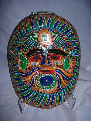 Mask,Mexico folk art clay,hand painted,bold,vibrant colors