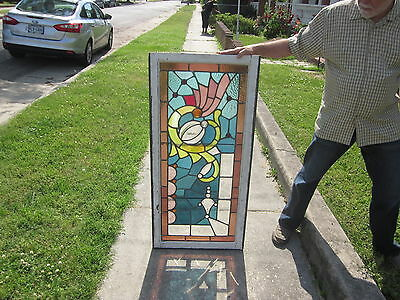 c.1910 Antique Combination Stained Glass Transom Window, 17 jewels, orig frame