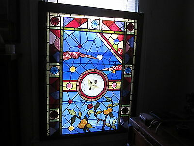 c.1890 Aesthetic Antique Stained Glass Window, 16 large jewels and roundels