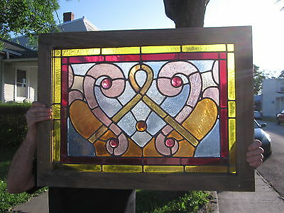c.1920 Antique Stained Glass Window, no cracks at all, 5 jewels