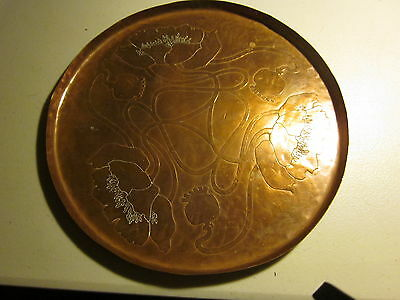 Beautiful Antique Floral Art Nouveau Copper Serving Tray, hallmarked