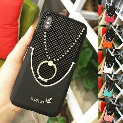 For iPhone X 8 Plus 7 Practical Bling Diamond Ring Stand Hybrid Slim Case Cover