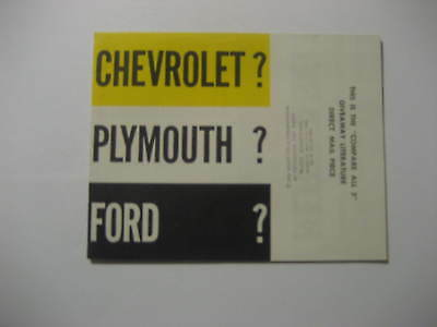 1950's Plymouth Compares All 3 Brochure....Chevy, Ford and Plymouth