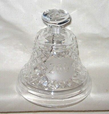 """Waterford 4"""" Crystal Bell 200 Year Anniversary Commemorative Diamond Cut Design"""