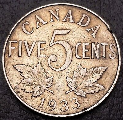 1933 Canada 5 Cents Nickel Coin - Pitted Obverse/Reverse