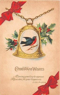 Pretty Bird Pictured on Bell by Holly & Red Bows-1920 Art Deco Christmas Postcrd