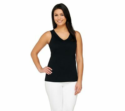 Isaac Mizrahi Basic Fitted Double V-Neck Knit Tank Top Solid Black M NEW A260927