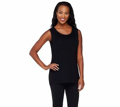 Joan Rivers Jersey Knit Round Scoop Neck Slvless Tank Solid Black XL NEW A262674