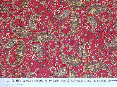 "Cotton fabric by Richloom 2010 paisley floral print on burgandy 63""x45"""