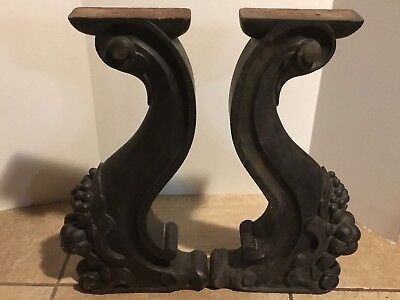 Antique Wood Corbels Balusters Supports Grapes Pomegranate Architectural Salvage