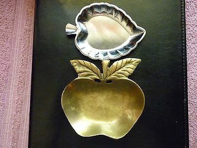 Vintage Solid Brass Apple Trinket Dish And Silver Steel Aspen Leaf Dish-Ashtray