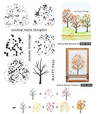 Hero Arts Clear Stamps - Colour Layering Autumn Trees, Warm Thoughts, Greetings