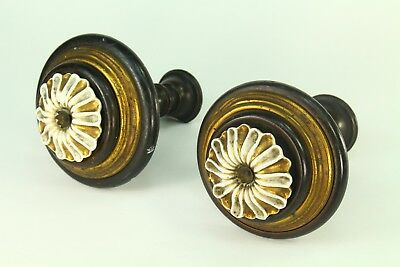 ! Antique Pair of Wood, Brass & Fine Porcelain Curtain Tie Hold Backs Rod Ends