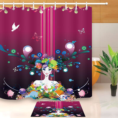 Illustration of Fairy Butterflies with Floral Patterns Decor Shower Curtain Set