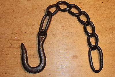 Antique Wrought Iron Hook on Length of Old Chain~Beam~