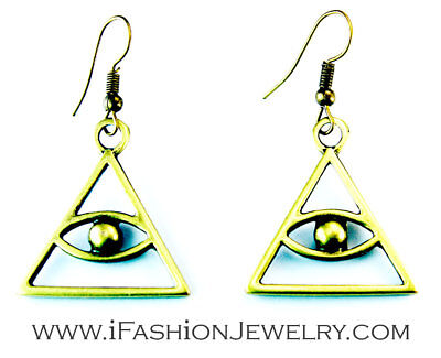 Fatima Triangle Eye Sign EARRINGS Bronze Egyptian Hamsa of Horus Dangle Jewelry