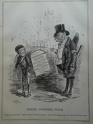 c1848 EXTENSION OF SUFFRAGE - SPECIAL CONSTABLE Original Victorian Punch Cartoon
