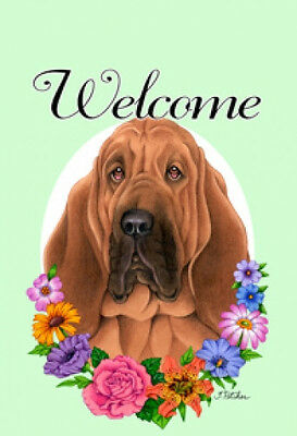 Large Indoor/Outdoor Welcome Flag (Flowers) - Bloodhound 63073