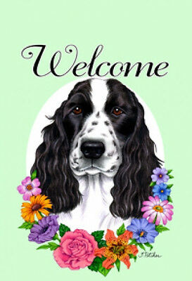 Large Indoor/Outdoor Welcome Flag (Flowers) - English Cocker Spaniel 63133