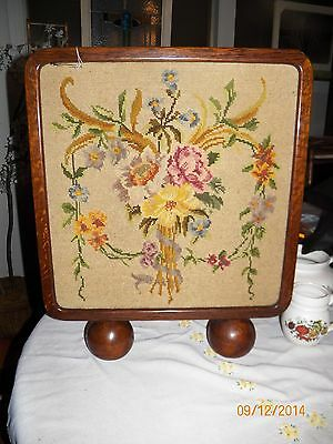 20x24in antique vintage wood floral needlepoint fireplace screen