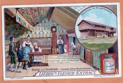 Sweden Swedish House Interior COLORFUL 1905 Trade Ad Card