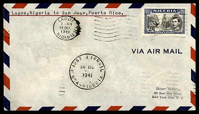 Nigeria Lagos to Puerto Rico 1941 First Flight cover Buea Road Issue