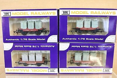 Triang Hornby Dapol R340 Rake aus 4 BR Container Conflat Waggon verpackt PY
