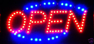 Latest 2017 Ulta Bright Animated LED Neon Light  Open Sign Running Blue LED 730