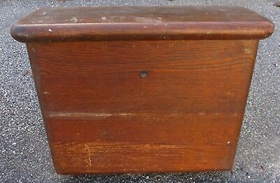 ANTIQUE LINED OAK TOILET TANK w/ COVER LID