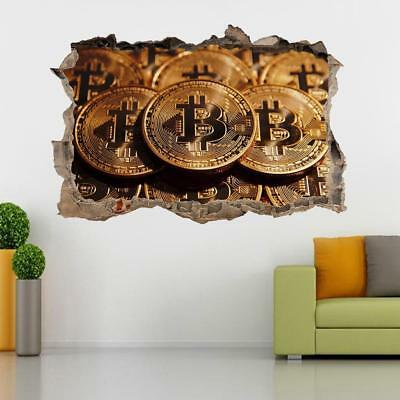 Bitcoin Cryptocurrency 3D Smashed Wall Sticker Decal Decor Art Mural J1036