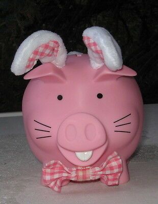 Pink Piggy Bank With Rabbit Ears And Tail