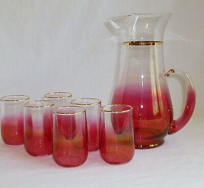 Cranberry West Virginia Glass Breakfast Pitcher & Tumblers Set