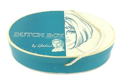 Vintage RARE Paperboard Lidded Wig Box Dutch Boy by Ghedini Blue White Oval