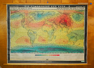 Climate Wall Map Justus Perthes Rudolf Geiger Air Pressure & Winds in January