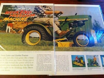 Vintage 1967 John Deere Riding Lawn Mower Freedom Machine Two Page ad